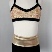 Gold Rose and Black Adjustable Bra Top with Black and Gold Convertible High Waist Shorts