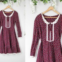 Vintage Maroon Lace Prairie Dress