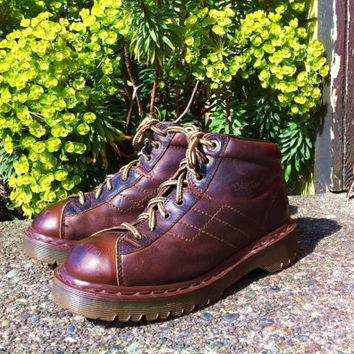 Vintage 90's Chunky Doc Martens Chocolate Brown Leather Ankle Grunge Boots Shoes Made in England UK 6 Great Condition Hiking