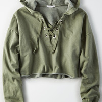 Don't Ask Why Lace-Up Sweatshirt, Heather Gray