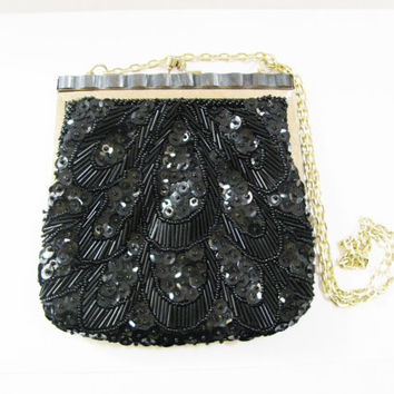 Black Evening Bag - Vintage Bead and Sequin Purse with Gold Tone Chain - Holiday Clutch Purse - Formal Handbag - Handmade in Hong Kong