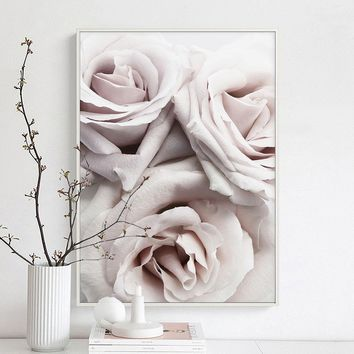 Decoration Blush Roses Nordic Wall Art Canvas Poster and Print Flower Canvas Painting Picture for Living Room scandinavian Decor