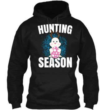 Hunting Season Cute Bunny Funny Easter T Shirt Pullover Hoodie 8 oz