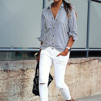 Vertical Stripe Button Collar Shirt