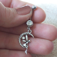 Fairy on a Moon Belly Ring Body Jewelry Navel Ring
