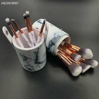 10pcs Professional Marble Makeup Brushes Soft Makeup Brush Set Foundation Powder Beauty Marble Make Up Tools with Holder Gift