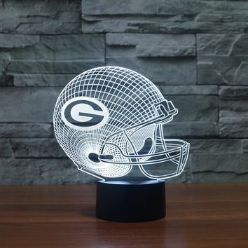 NFL Team Logo 3D Light LED Green Bay Packers 3D Football Helmet Visual Lamp Home Decor 3425