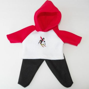 "Bitty baby clothes doll girl or 15"" twin, Christmas, Ski Penguin, Red White Black, Fleece, Hoodie Pants, american made by adorabledoldesigns"