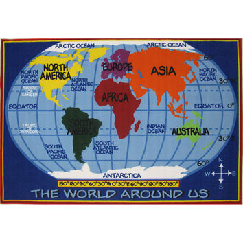 Fun Rugs Fun Time Collection Kids World Map Area Rug