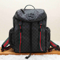 Vintage GUCCI Casual School Bag Leather Backpack 9030