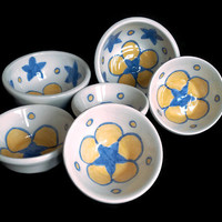 Set of six small ceramic pottery bowls-Flower star bowl- Decorative blue and yellow bowl- Handmade with hand painted stars and flower.