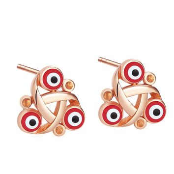 Small Cute Celtic Triquetra Knot Evil Eye ProtectiGold-Tone Lucky Charms Royal Red Amulet Earrings