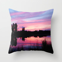 Cotton Candy Clouds & Lake Throw Pillow by 2sweet4words Designs