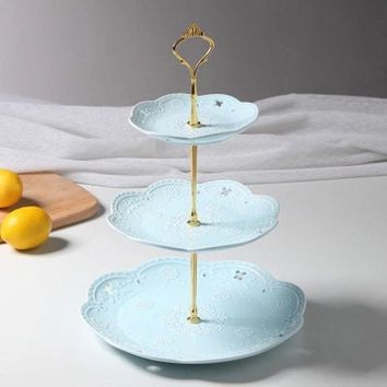 ONETOW European-style Ceramic Fruit Plate Dessert Plate Creative Three-tier cake Stand Plate Simple Afternoon Tea Free Shipping