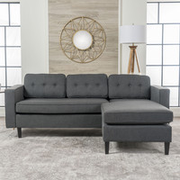 Windsor Mid Century 2 Piece Fabric Chaise Sectional Sofa