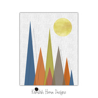 Nursery Wall Art - Geometric Mountain Art Retro Print Triangle minimalist Mountain Print Mountain Poster Nursery Mid Century Modern Decor