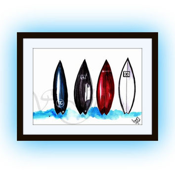 Chanel surf board,Sports beach Wall Art, travel decor, watercolor painting, bohemian decal boy room decals, surfing games, surfboard, sporty