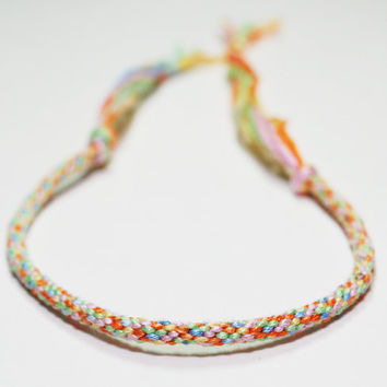 Rainbow Brite Kumihimo Fibre Bracelet by epicstitching on Etsy