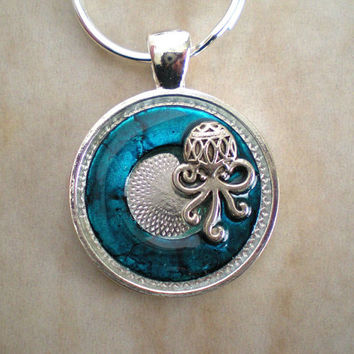 Octopus Keychain: Blue - Cthulhu - Sea Creature - Men's Keyring - Steampunk - Ocean