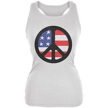 4th of July American Flag Peace Sign Distressed Halftone Juniors Soft Tank Top