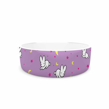 "Jackie Rose ""Goodnight Usagi"" Lavender Magenta Pet Bowl"