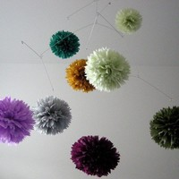 She and Him large pom mobile by PomLove on Etsy