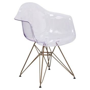 Flash Furniture Allure Series Transparent Side Chair with Gold Frame - Walmart.com