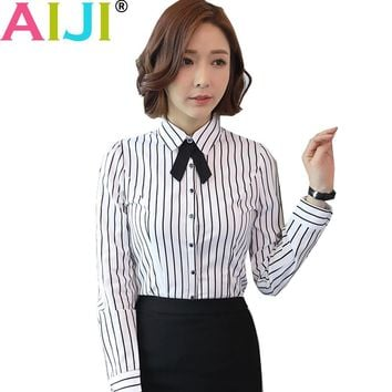 Autumn women long sleeve blouse OL elegant stripe bow tie turn-down collar formal chiffon shirts ladies office work wear tops
