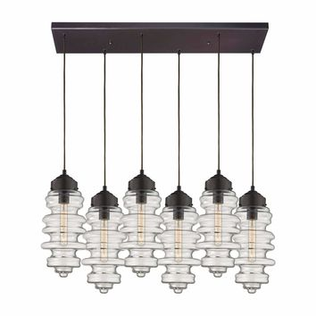 Cipher 6 Light Pendant In Oil Rubbed Bronze And Clear Glass