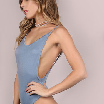 Blue Scoop Back Cami Bodysuit | MakeMeChic.COM