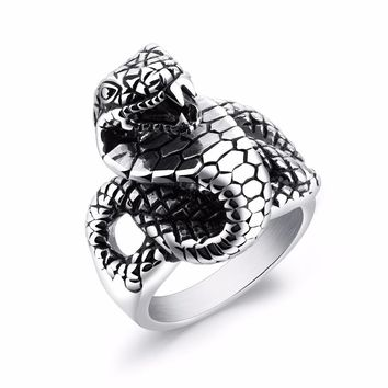 Personality Men's Stainless Steel Ring Snake design Punk Style Party men Finger Jewelry size 7-13