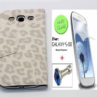 """""""White"""" Leopard Faux Leather Bracket Flip Skin Stand Case Cover Wallet With Magnetic Closure For Samsung Galaxy S3 / SIII (INCLUDED: MATTE, ANTI-GLARE FRONT SCREEN PROTECTOR + DIAMOND EARPHONE DUST PLUG)"""