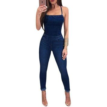 VONG2W Plus Size Denim Jumpsuits Elegant Overalls Women Sleeveless Back Cross Hollow Out Skinny Jeans Jumpsuit Long Pants Rompers Femme