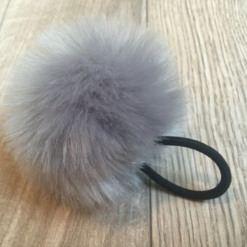 Faux fur Pom Pom hairband, fur ball elastic hair band, pom pom pony tail holder, pom pom hair accessory, furry hairband