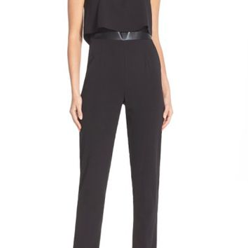 Adelyn Rae Popover Mixed Media Jumpsuit | Nordstrom