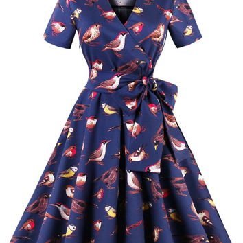 Chicloth Short Sleeve Lapel Collar Print A-Line Vintage Dress