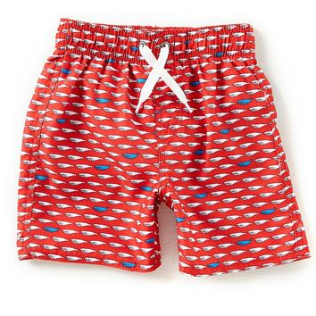 Class Club Little Boys 2T-7 Linear Whale Print Swim Trunks | Dillards