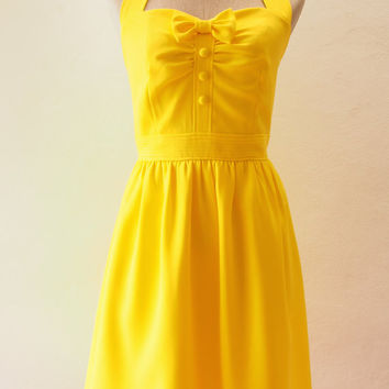 Dress in Lemon, Dress in Yellow, Vintage Inspired, Retro, Rockabilly Dress, Yellow Summer Dress, Yellow Bridesmaid Dress - XS_XL, Custom