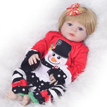 Simulation bebe 23'' Full Silicone Vinyl Reborn Dolls Babies Girl Real like Snowman Gold Hair Baby Dolls Reborn Bonecas Toys