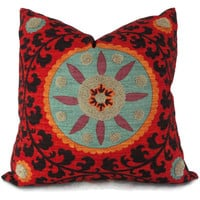Colorful Tufted Tribal Suzani Decorative Pillow Cover 18x18, 20x20 or 22x22 inch - Accent pillow - Throw Pillow