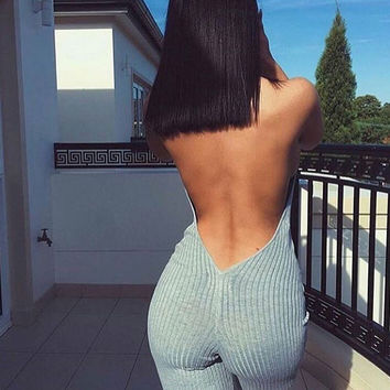 Knitted Backless Jumpsuit