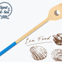 Dipped Wooden Handmade Kitchen Cooking Spatula - Oceanic Collection FREE SHIPPING