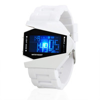 Waterproof Airplane Shaped LED Watch Black and White