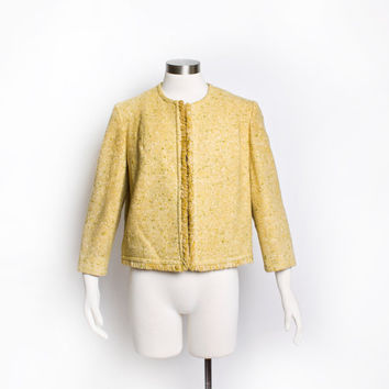 Vintage 60s PENDLETON Jacket - Wool Tweed Yellow Mod Coat 1960s - Large / Medium
