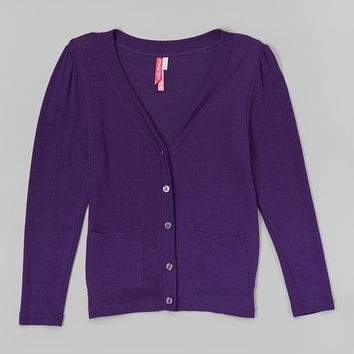 Cutie Patootie Purple Pocket Cardigan - Girls