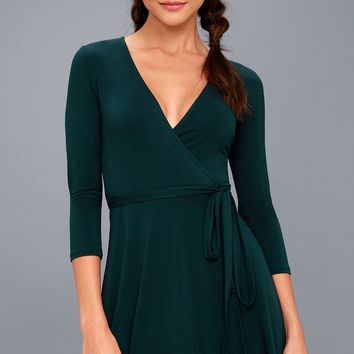 Twirl-Worthy Forest Green Wrap Dress