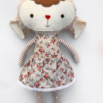 Lamb nursery plushies sheep softie babyshower soft toys, stuffed animal lamb girl toddler easter gift french vintage cloth doll,