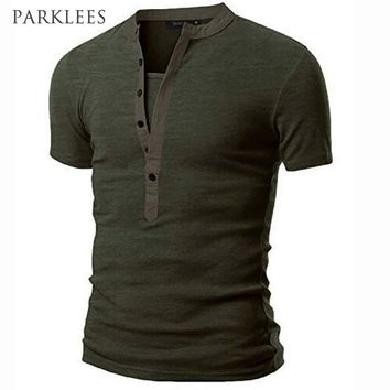 New T shirt Men Tshirt Homme 2017 Mens Fashion Army Green Short Sleeve Henley Shirt Brand Slim Fit V Neck Tee Shirt T-shirt Men
