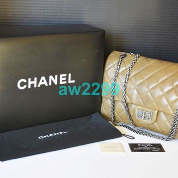 AUTHENTIC CHANEL REISSUE QUILTED JUMBO DOUBLE FLAP BAG COYOTE BROWN MINT RARE