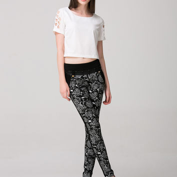 Black Casual Pencil Pants With Front Floral Design
